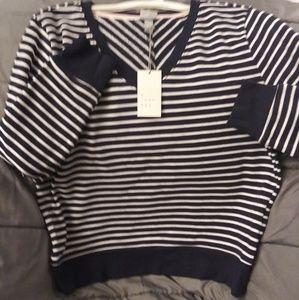 Blue and White Striped Sweatshirt